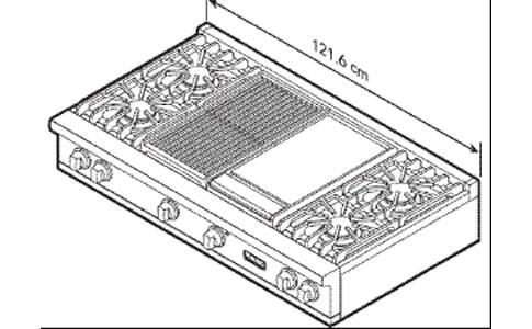 VIKING燃气灶EVGRT5484GQSS外观及安装尺寸