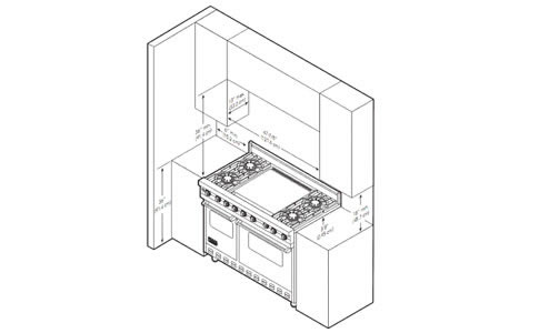 VIKING烤箱灶VDSC5484GQSS外观 安装尺寸