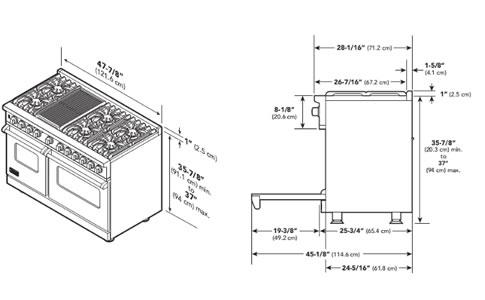 VIKING烤箱灶VGCC5484GQSS外观 安装尺寸