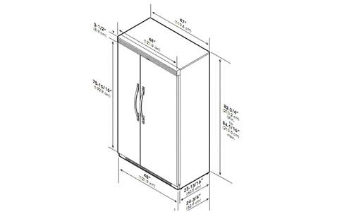 VIKING冰箱EDFSB548外观 安装尺寸