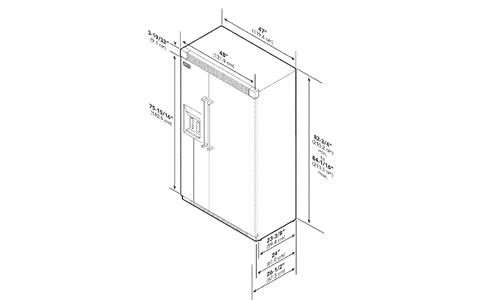 VIKING冰箱EVISB548DSS外观 安装尺寸