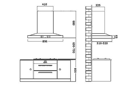 Whirlpool油烟机AHD 82T902外观尺寸