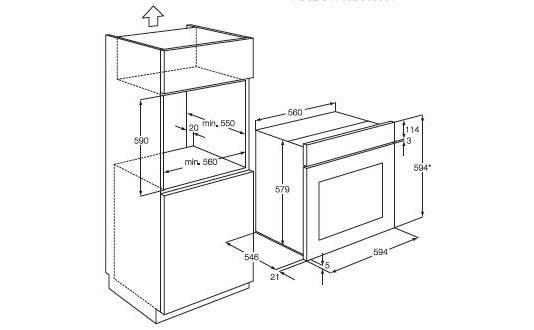 AEG蒸烤一体机BS9304001M外观 安装尺寸