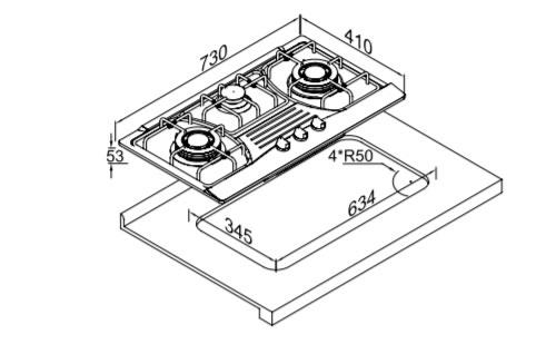 博洛尼燃气灶Q-830B外观 安装尺寸