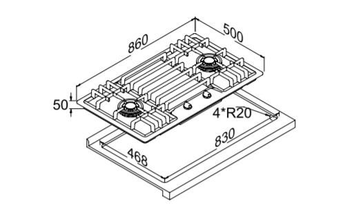 博洛尼燃气灶Q-8602T外观 安装尺寸