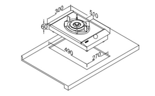 铁达尼燃气灶Z1101外观 安装尺寸