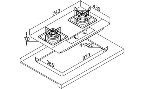 博洛尼燃气灶JZ(T.Y.R)-Z1203外观 安装尺寸