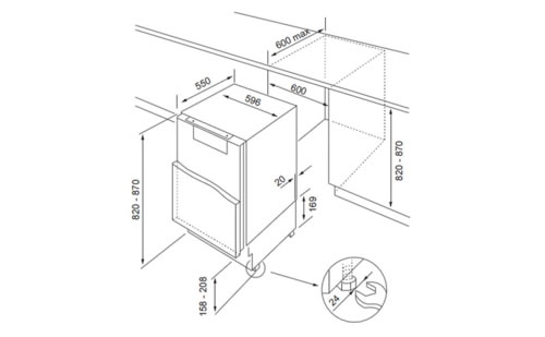 TR-16BUA冰箱产品尺寸图