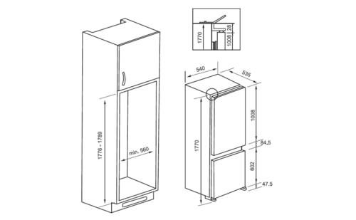 IGO283BH冰箱产品尺寸图